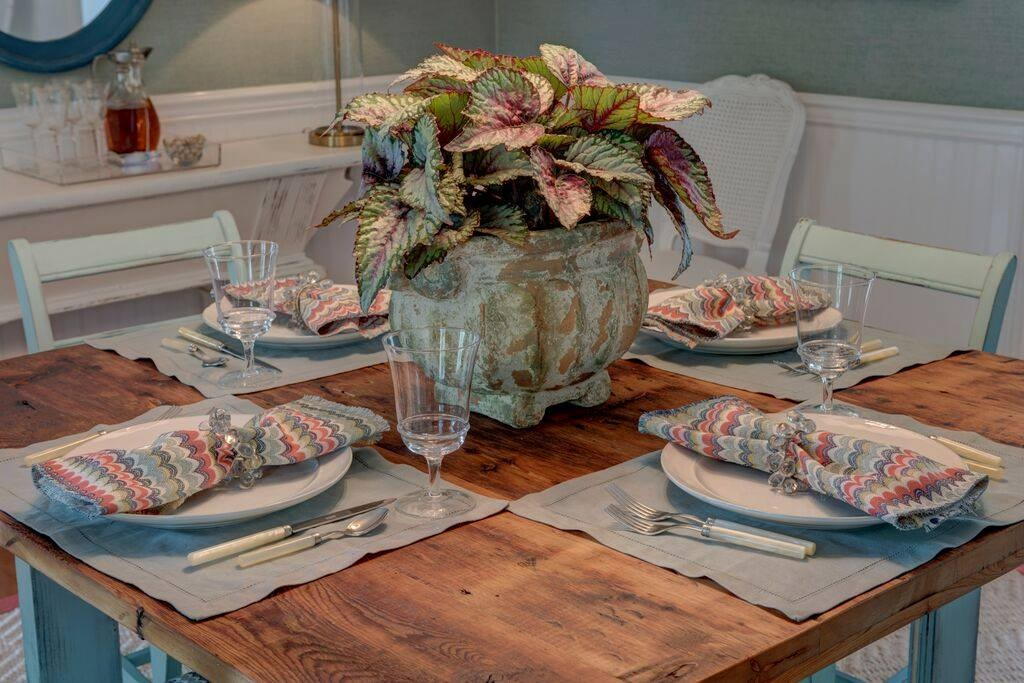 Table setting in one of the rooms at the North Fork Designer Show House. Photo from North Fork Designer Show house